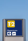 Terminal indication. Signpost with the description for navigation in airport Stock Photography