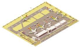 Terminal isométrique d'aéroport de vecteur bas poly Photo libre de droits