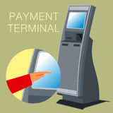 Terminal 02. Linear and Vector images to the flat stationary payment terminal Stock Photo