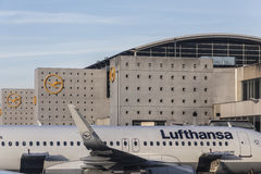 Terminal 1 with Lufthansa aircrafts in Frankfurt Royalty Free Stock Photos