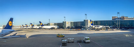 Terminal 1 with Lufthansa passengers airplane Stock Images