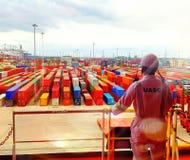 Terminal Marrocos do porto dos recipientes Foto de Stock