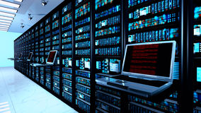 Free Terminal Monitor In Server Room With Server Racks In Datacenter Interior Stock Photo - 76688850