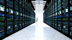 Terminal monitor in server room with server racks in datacenter Royalty Free Stock Image
