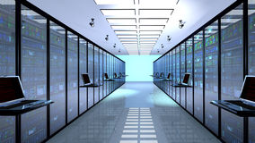 Terminal monitor in server room with server racks in datacenter Stock Image