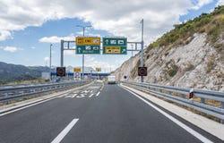 Terminal payment for driving on the highway, autobahn in Croatia. MAKARSKA, CROATIA - JULY 16, 2017: Terminal payment for driving on the highway, autobahn in stock photo
