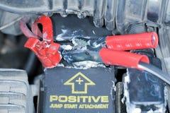 Terminal positiva de la batería Imágenes de archivo libres de regalías