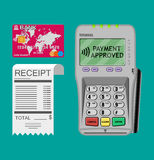 Terminal, receipt, card Stock Images