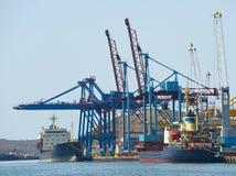 Terminal at russian cargo port Vladivostok Royalty Free Stock Image