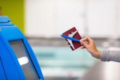 Terminal for self-check-in for flight or buying Stock Photo