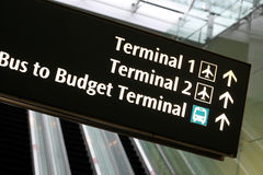 Terminal sign in airport with escalators Stock Photography