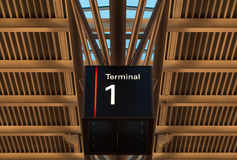 Terminal sign at the airport under roof Stock Photo