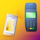 Terminal som betalar, och mobiltelefon Arkivfoton