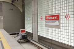 Terminal stop at the second sublevel at Heumarkt Royalty Free Stock Photos