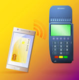 Terminal to pay and mobile phone. Payment terminal and smartphone with mobile bank Stock Photos