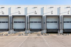 Terminal for truck loading with closed gates Stock Photo