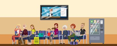 Terminal waiting room. Terminal waiting room with people sitting and waiting Stock Image