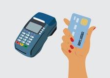 Terminal y mano de la posición que sostienen la tarjeta de crédito Fotografía de archivo libre de regalías