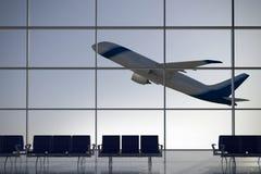 Terminale di aeroporto di partenze Immagine Stock