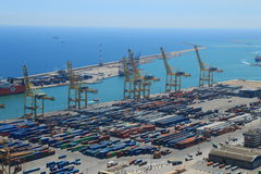 Terminale di contenitore Barcellona Spagna Immagini Stock Libere da Diritti
