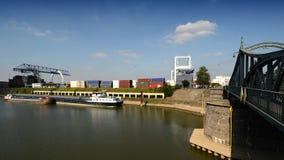 Terminale di contenitore - Krefeld città portuale Fotografia Stock