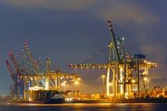 Terminale di contenitore nel porto di Amburgo Immagine Stock