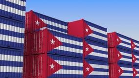 Terminale di contenitore in pieno dei contenitori con la bandiera di Cuba L'esportazione o l'importazione cubana ha collegato l'a illustrazione di stock