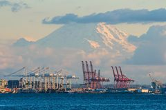 Terminale di contenitore di Seattle con il monte Rainier nei precedenti Immagini Stock Libere da Diritti