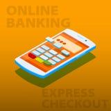 Terminale di pagamento nel telefono Acquisto online di concetto Immagine Stock