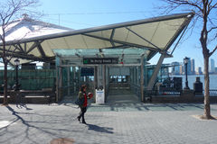 Terminale di traghetto del centro finanziario del mondo Fotografie Stock