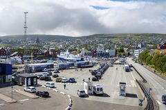 Terminale di traghetto del porto di Torshavn fotografia stock libera da diritti