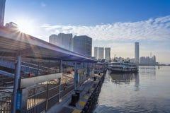 Terminale di traghetto della Cina Xiamen di mattina fotografie stock libere da diritti