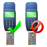 Terminale e carta assegni di pagamento Immagini Stock