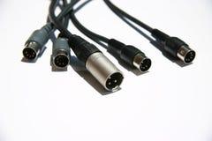 Terminales de componente sanos del audio en un fondo blanco Fotografía de archivo libre de regalías