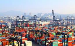 Terminales de contenedores modernas, Hong-Kong Imagen de archivo libre de regalías