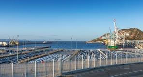 Terminales del cargo en Tanger Med, Marruecos imagenes de archivo