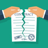 Terminated contract vector. Terminated contract. Businessman tearing contract hands. Vector illustration flat design. Isolated on background. Concept of royalty free illustration