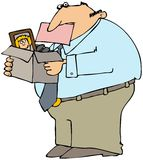 Terminated Man. This illustration depicts a man with a pink slip in his mouth and carrying a box of personal items Royalty Free Stock Images