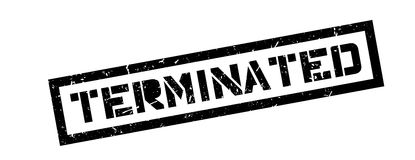 Terminated rubber stamp. On white. Print, impress overprint Royalty Free Stock Photos