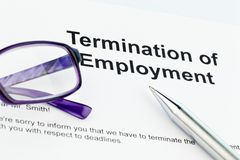 Termination by employer (English). The termination letter from an employer (in English Royalty Free Stock Photos