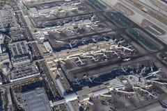 Terminaux et Jet Airplanes de LAX Photo stock