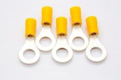 Terminaux isolés d'anneau sur le fond blanc Photos stock