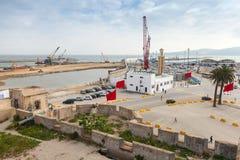 Terminaux pour passagers en construction dans le port de Tanger, Afrique Photographie stock