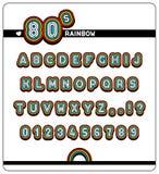Termine el alfabeto y los números en fuente del arco iris 80s Foto de archivo libre de regalías