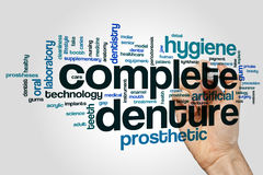 Termine el concepto de la nube de la palabra de la dentadura en fondo gris imagenes de archivo