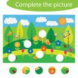 Termine el rompecabezas y encuentre los piezas que faltan de la imagen, juego para los niños, hoja de trabajo preescolar de la ed ilustración del vector