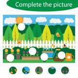 Termine el rompecabezas y encuentre los piezas que faltan de la imagen, juego para los niños, hoja de trabajo preescolar de la ed libre illustration
