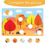 Termine el rompecabezas y encuentre los piezas que faltan de la imagen, otoño, juego para los niños, activ preescolar de la educa stock de ilustración