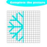 Termine la imagen, copo de nieve en el estilo de la historieta, formación de capacidades de dibujo, juego de papel educativo para stock de ilustración