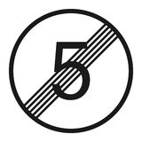Termine la línea icono de la muestra del límite 5 de la velocidad máxima libre illustration